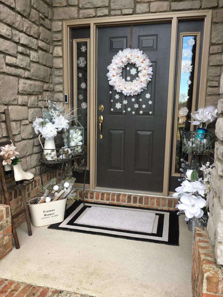 Winter white front porch decor