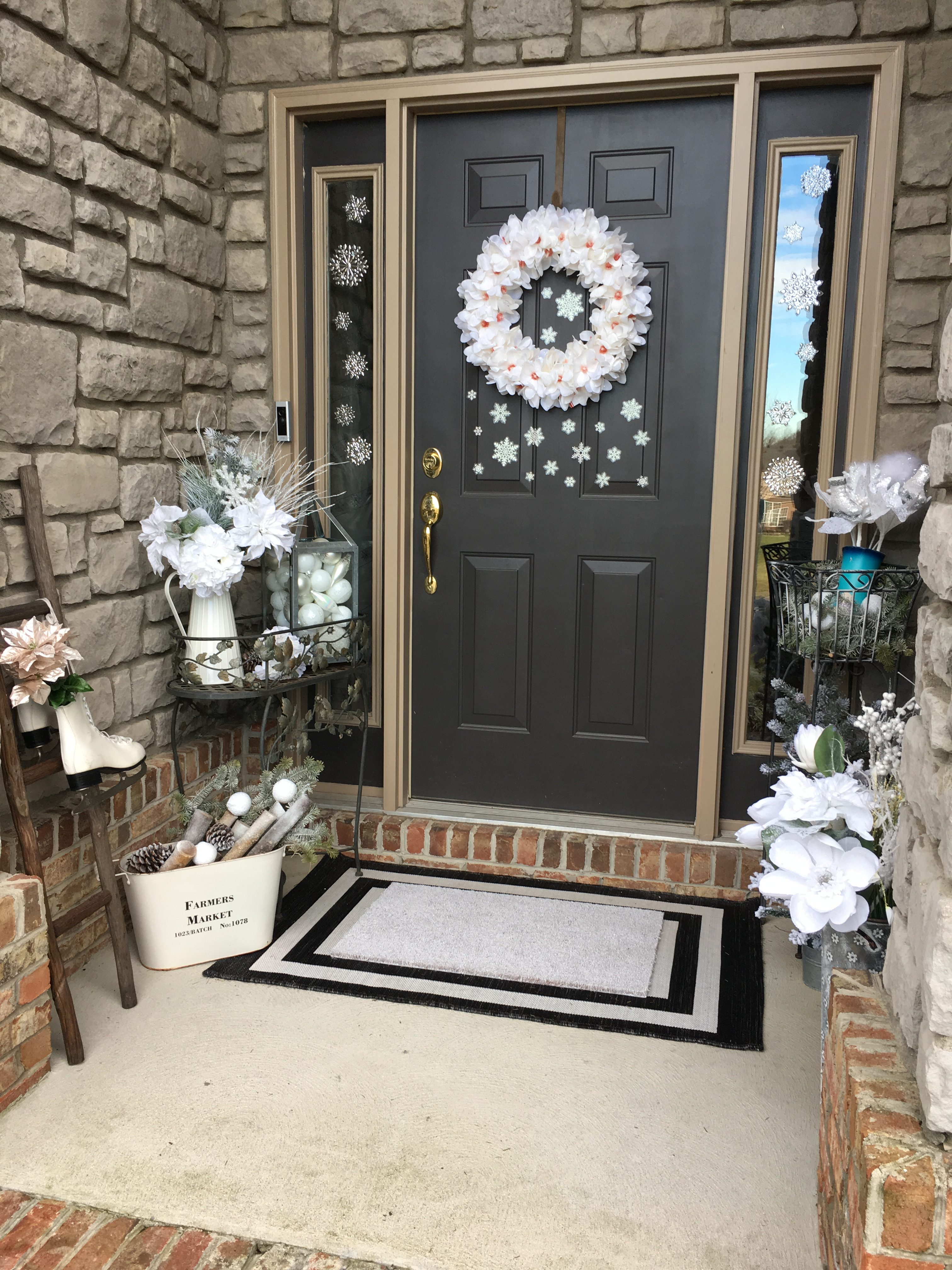 Winter white front porch decor