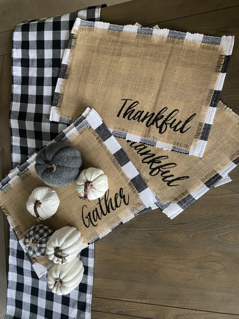 Buffalo check, table decor, placemats, table runner, fabric pumpkin, thankful, gather