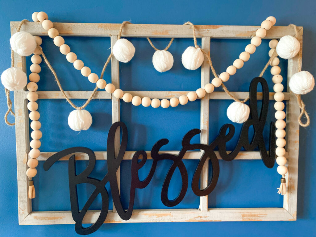 DIY, wall decor, farmhouse beads, rustic decor, dining room, wall words, farmhouse decor, blessed