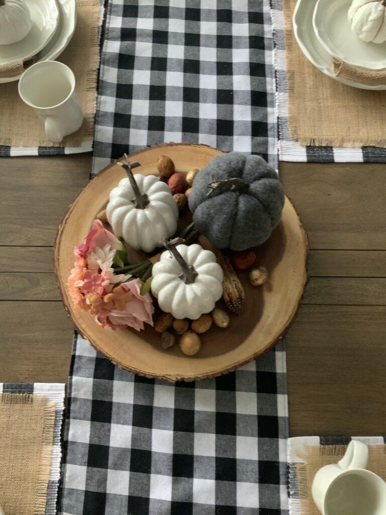 Fall table decor, fall decorations, seasonal table, lazy susan