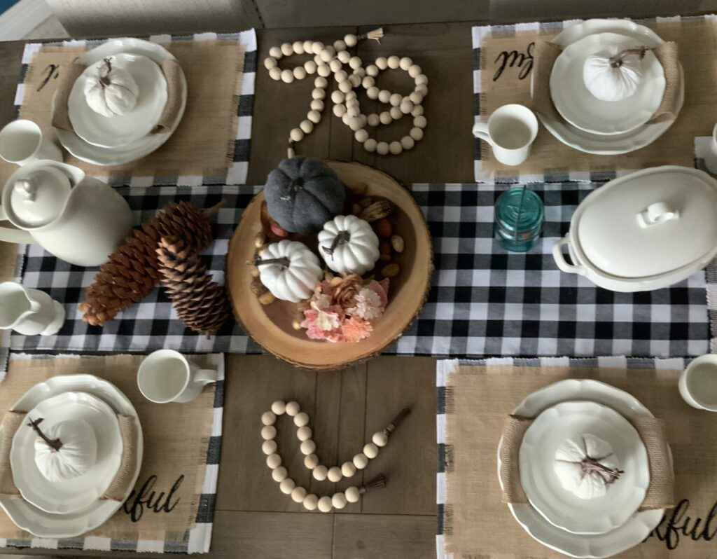 Table scrape, dining room, fall decor, one room challenge, farmhouse beads