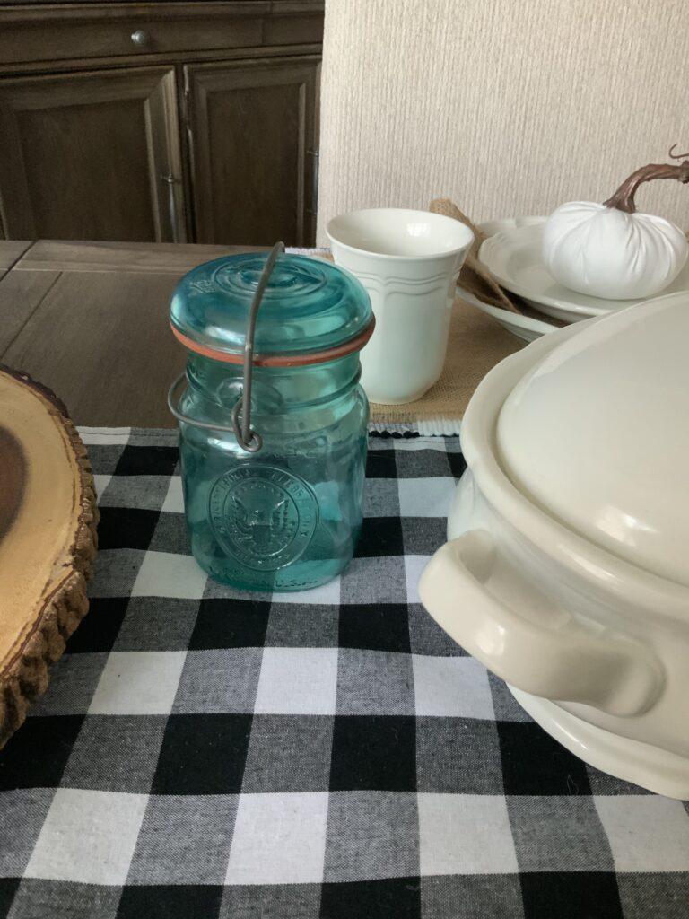 Ball jar, antiques, vintage, original glass, blue glass
