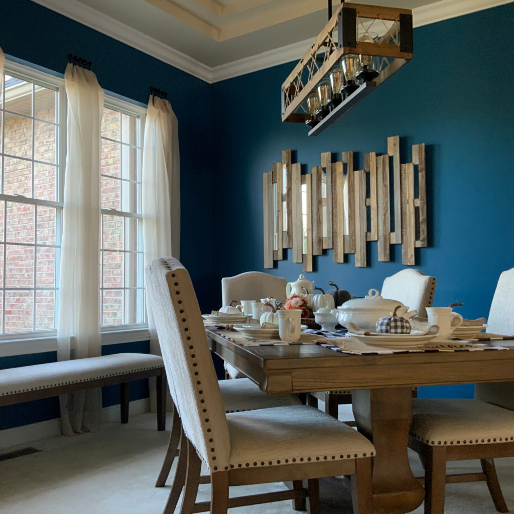 Warm cozy dining room, color of the year, Ashley furniture, kirklands