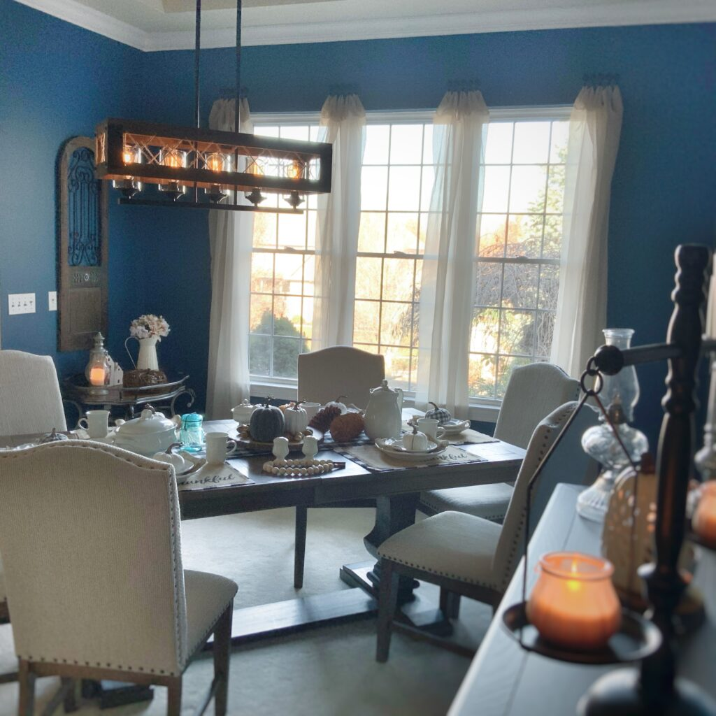Warm cozy dining room reveal, one room challenge