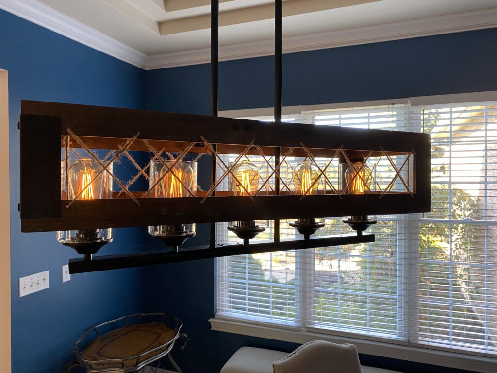 Rustic light fixture, one room challenge, dining room, lowes home improvement