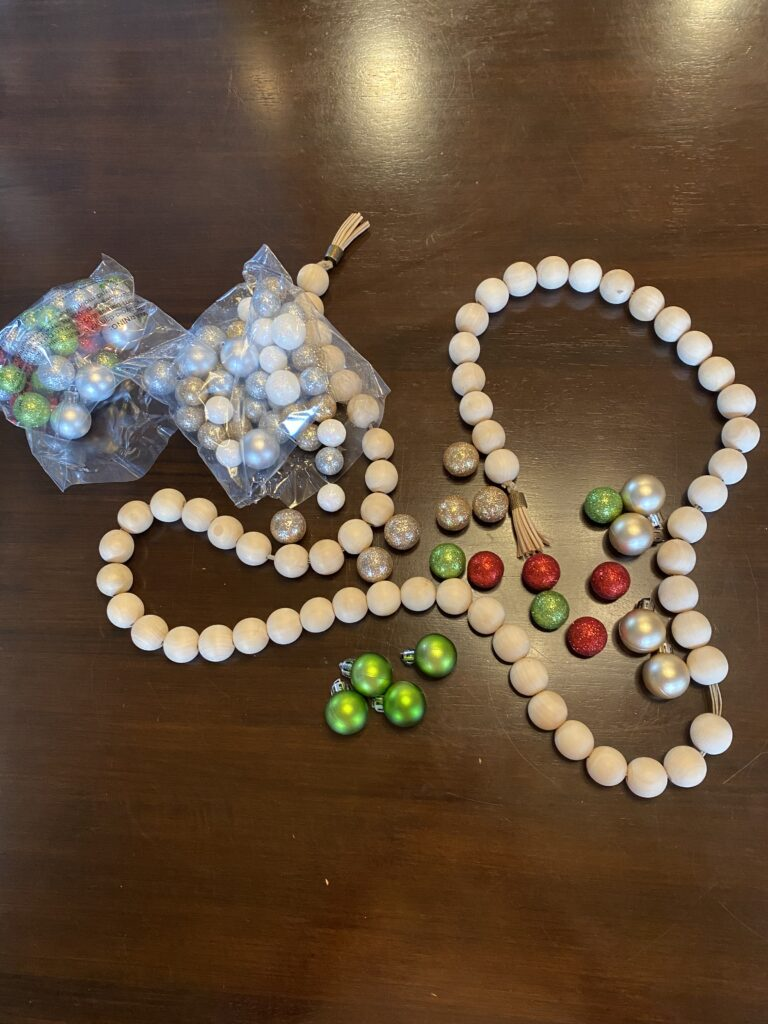 Farmhouse beads with Christmas touches