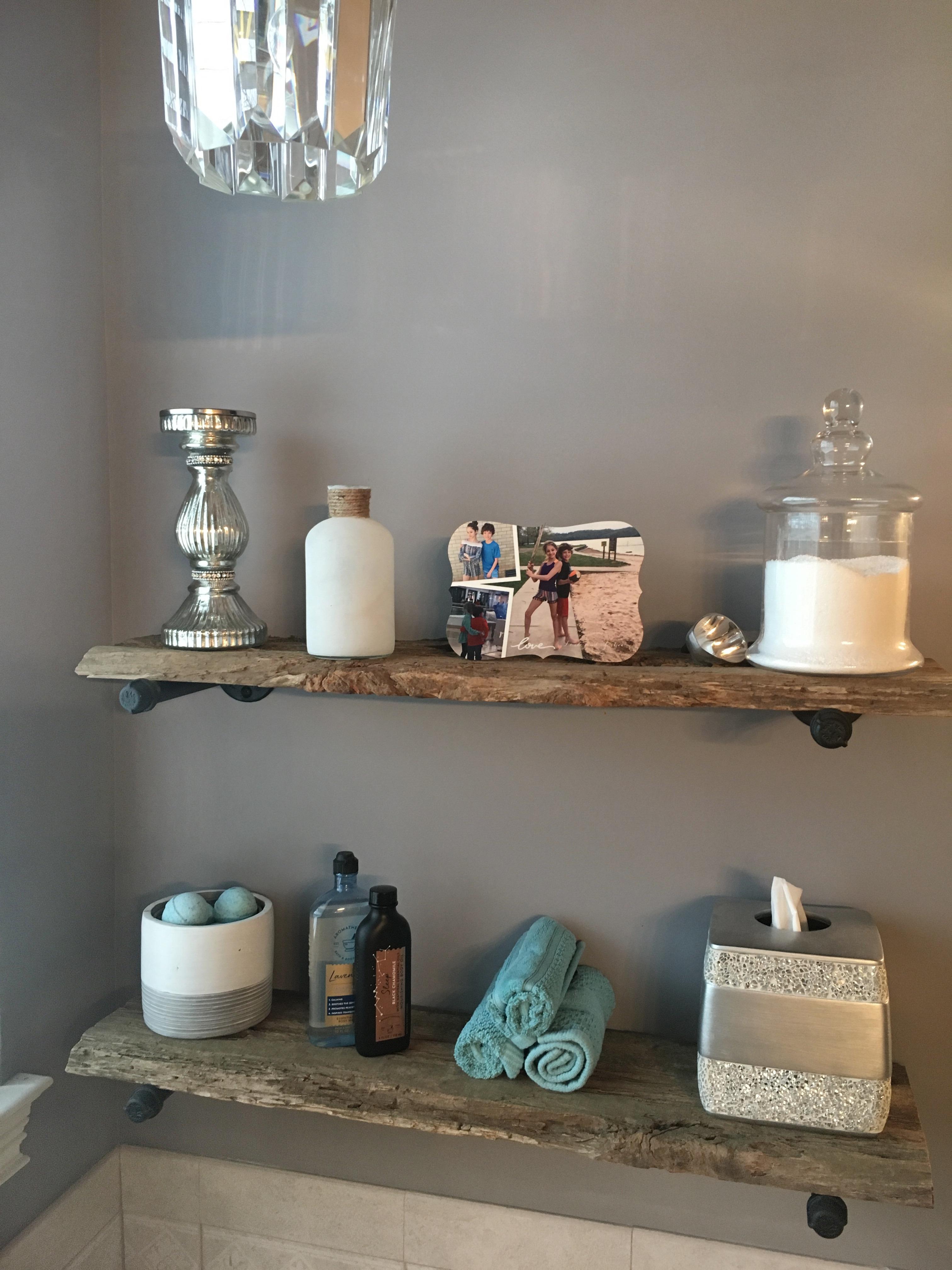 rustic barnwood shelves