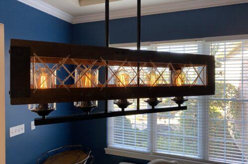 Dining room lighting, dining room light, Lowes, rustic light, farmhouse light