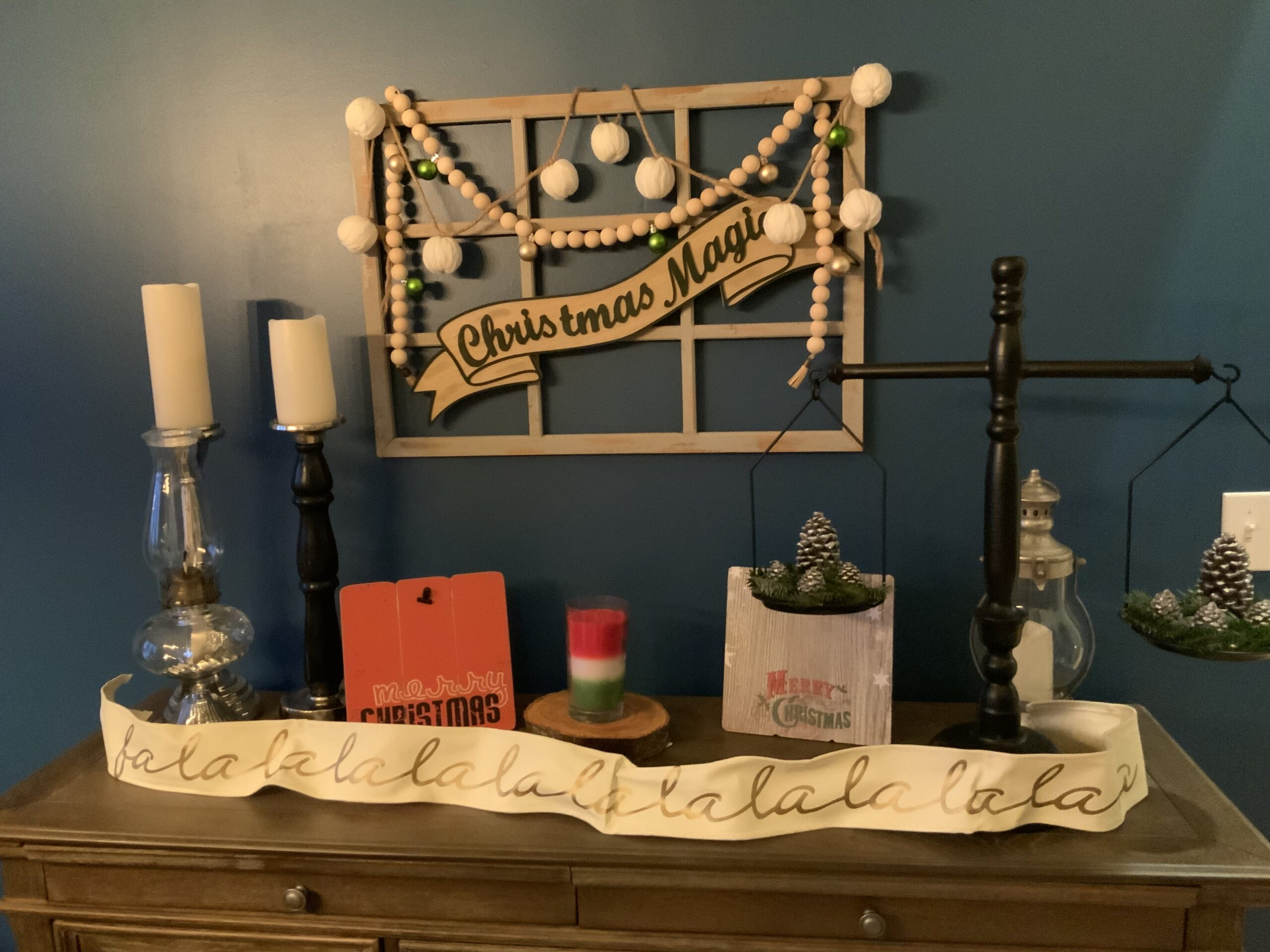 Christmas Wall decor with farmhouse beads